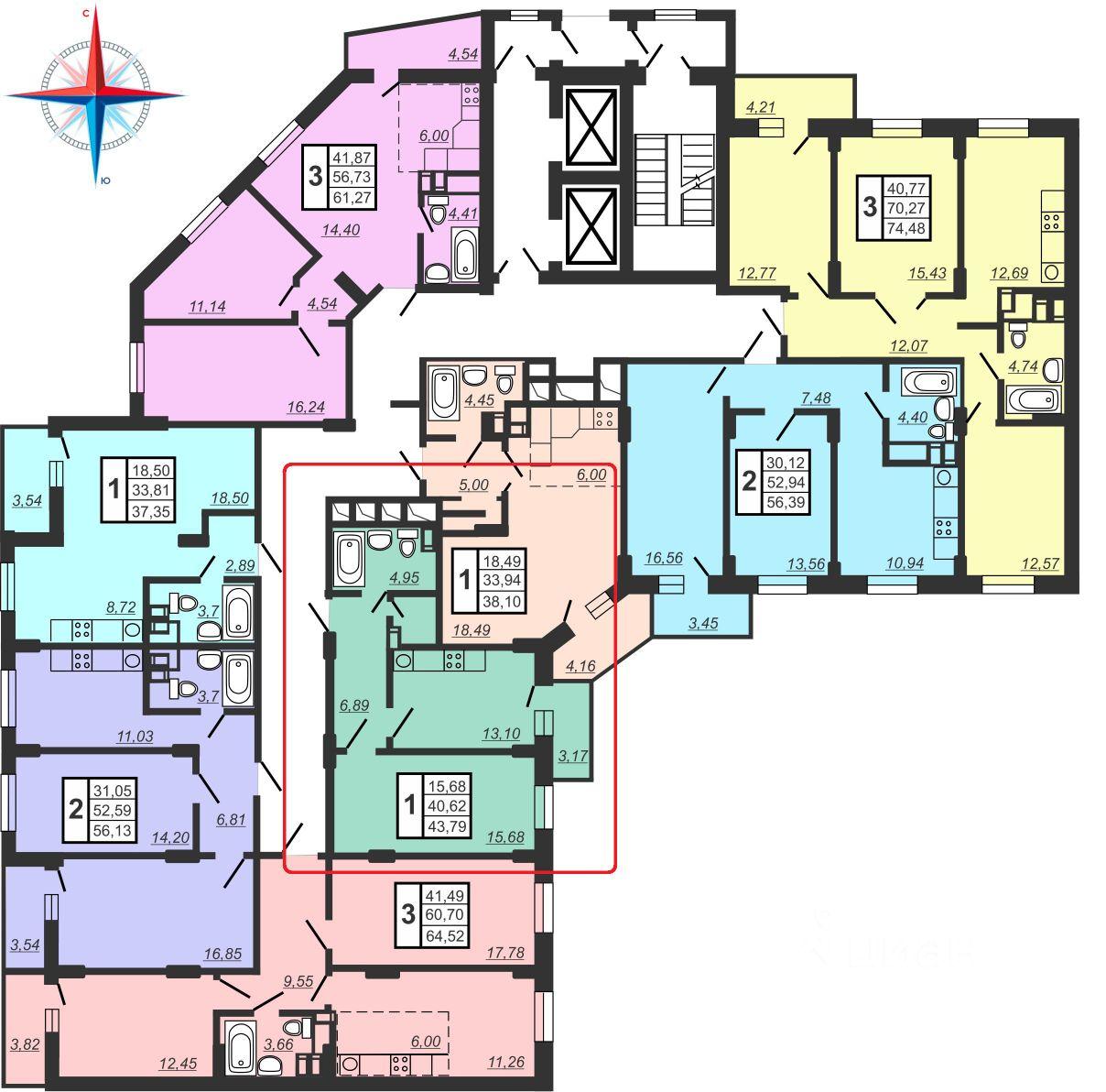 Купить однокомнатную квартиру 43.79м² Университетская Набережная ул., 59, Челябинск, Челябинская область, р-н Калининский, мкр. 6-й Академ Риверсайд - база ЦИАН, объявление 242759535