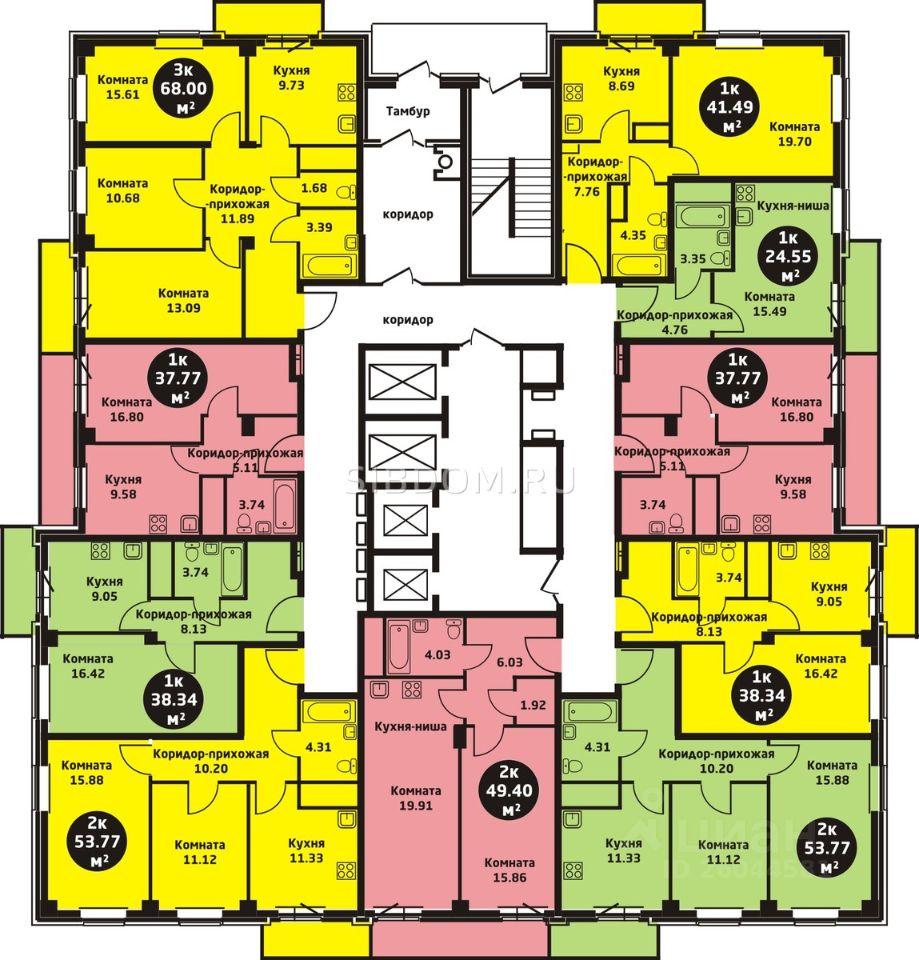 Продажа однокомнатной квартиры 43.8м² ул. Калинина, 41В, Красноярск, Красноярский край, р-н Железнодорожный - база ЦИАН, объявление 239643112
