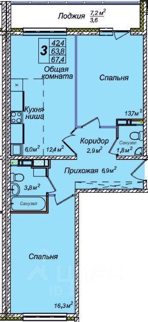 Продажа трехкомнатной квартиры 67.3м² 1-я Чулымская ул., 112, Новосибирск, Новосибирская область, р-н Ленинский, мкр. Лесоперевалка м. Площадь Ленина - база ЦИАН, объявление 219020185