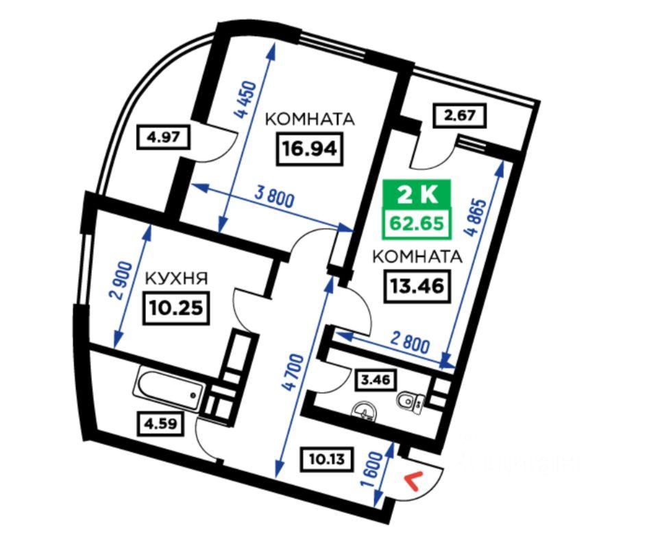 Купить двухкомнатную квартиру 63м² Старокубанская ул., Краснодар, Краснодарский край, Центральный, мкр. Дубинка - база ЦИАН, объявление 241000542