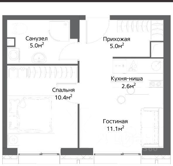 Купить однокомнатную квартиру 34м² ул. Дыбенко, 1к4, Москва, САО, р-н Ховрино м. Беломорская - база ЦИАН, объявление 251682987