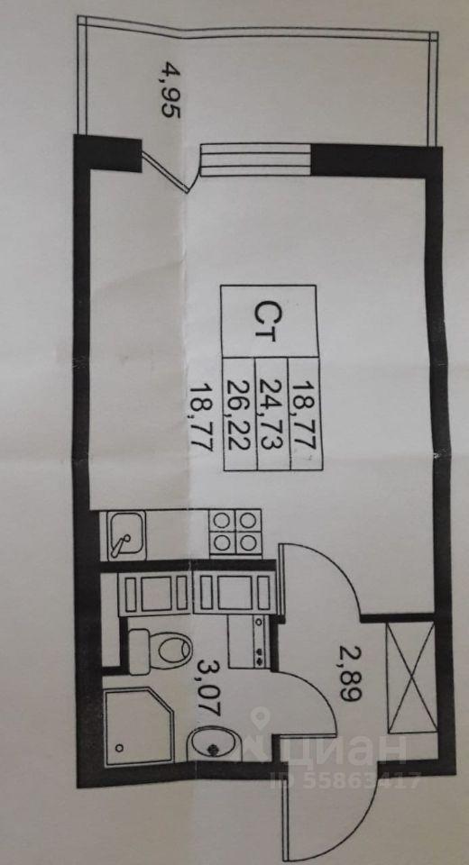 Продаю квартиру-студию 25м² аллея Арцеуловская, 23к1, Санкт-Петербург, р-н Приморский, Коломяги м. Комендантский проспект - база ЦИАН, объявление 237809588