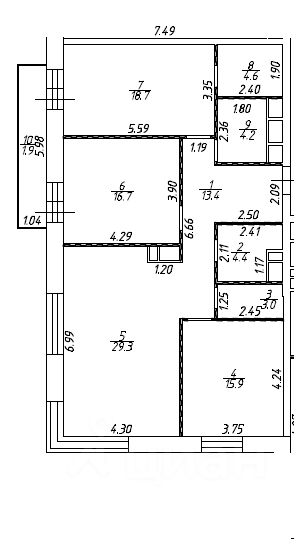 Купить трехкомнатную квартиру 112.5м² ул. Вавилова, 4, Москва, ЮАО, р-н Донской м. Шаболовская - база ЦИАН, объявление 242777781