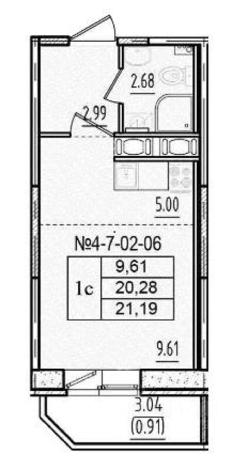 Купить квартиру-студию 21м² Санкт-Петербург, р-н Невский, Рыбацкое, Усть-Славянка территория м. Рыбацкое - база ЦИАН, объявление 243140037