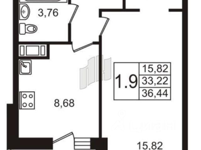 Продается однокомнатная квартира за 3 350 000 рублей. Ленинградская обл, Всеволожский р-н, г Кудрово.