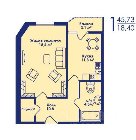 Продажа однокомнатной квартиры 45.73м² Московская область, Котельники, южный микрорайон, к6 м. Котельники - база ЦИАН, объявление 238906942