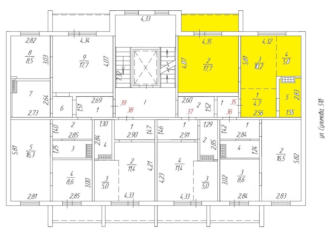 Продажа двухкомнатной квартиры 41.6м² ул. Сулимова, 51Б, Челябинск, Челябинская область, р-н Советский - база ЦИАН, объявление 245981164