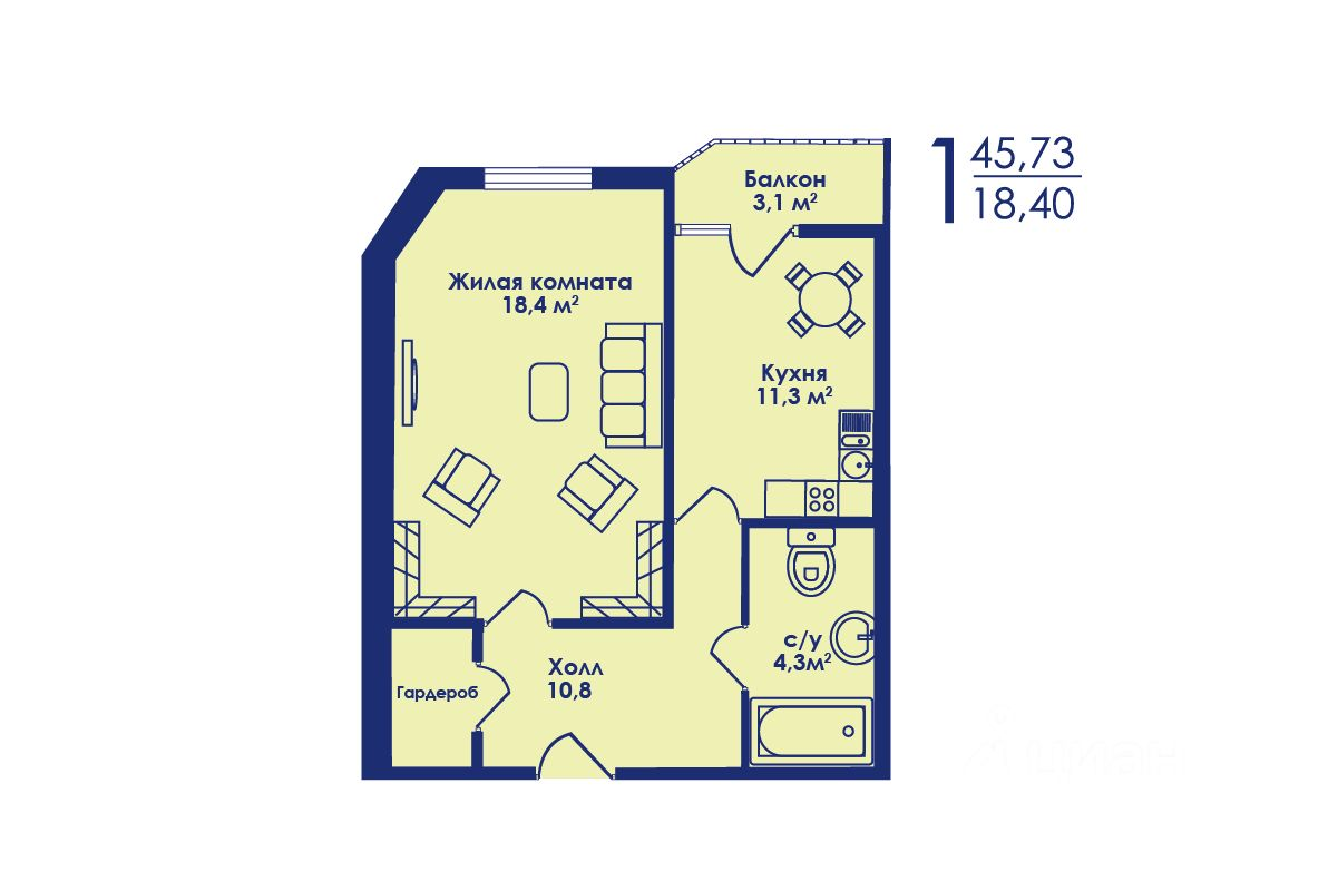 Купить однокомнатную квартиру 44.9м² Московская область, Котельники, южный микрорайон, 14 - база ЦИАН, объявление 242905053