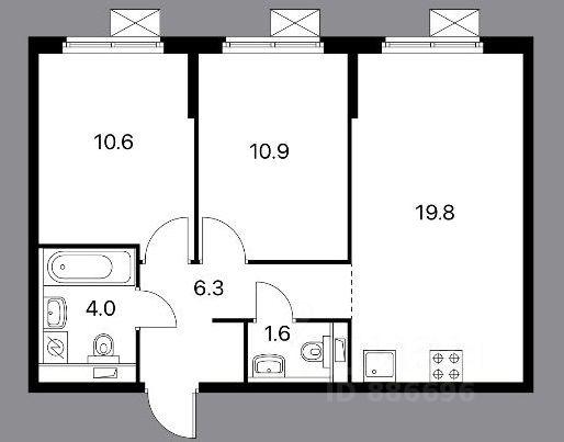 Продажа двухкомнатной квартиры 53.2м² ул. Архангельская, 4, Московская область, Красногорск городской округ, Ильинское-Усово поселок м. Тушинская - база ЦИАН, объявление 249565771